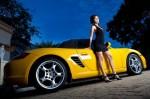 Yellow Porsche and girl