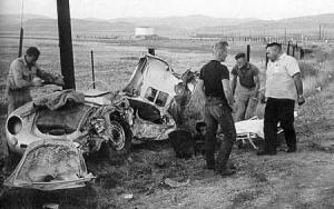 James Dean Porsche 550 Spyder car after crash