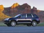 Dark blue metalic Porsche Cayenne S 2004 Montain Front angle view 1600x1200 wallpaper